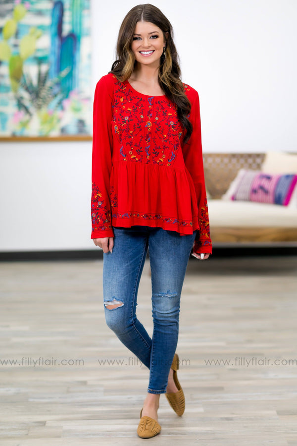 Comes Back To You Floral Embroidered Ruffle Top in Red - Filly Flair