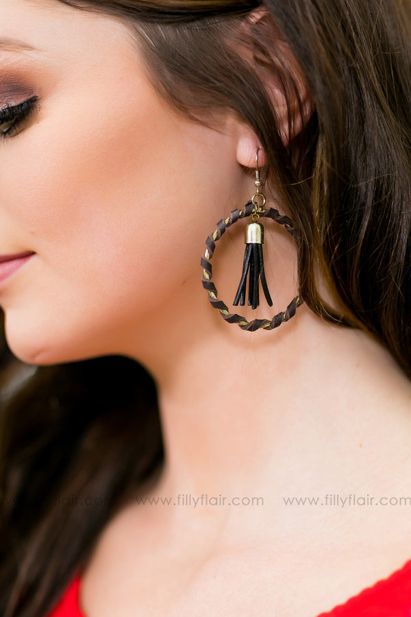 When I'm With You Circle Tassel Earrings In Brown - Filly Flair