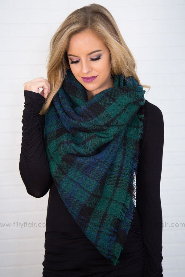 We've Got You Covered Plaid Blanket Scarf In Emerald