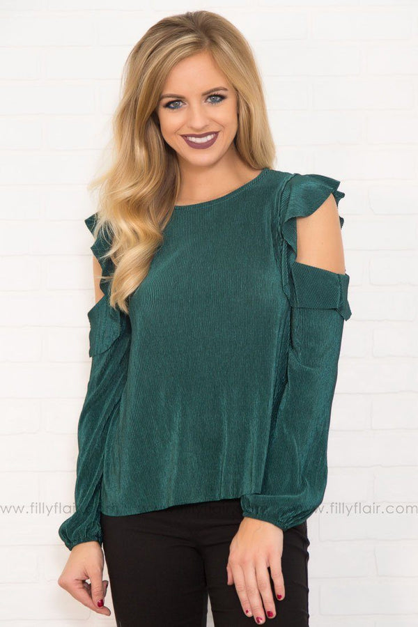 Adore My Ruffle Cold Shoulder Top In Emerald