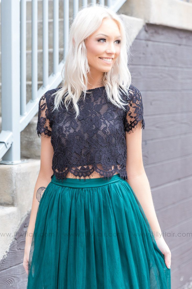Light Up The Room Short Sleeve Lace Top In Black - Filly Flair 376f8b32a