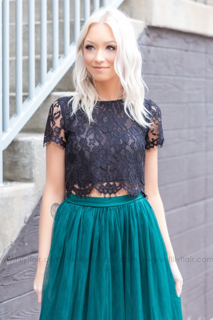 Light Up The Room Short Sleeve Lace Top In Black - Filly Flair