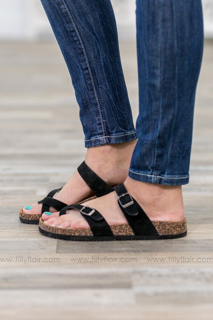 Where We'll Be Double Strap Cross Toe Sandals in Black - Filly Flair
