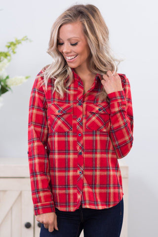 Some Kind of Way Long Sleeve Plaid Tunic Dress in Red