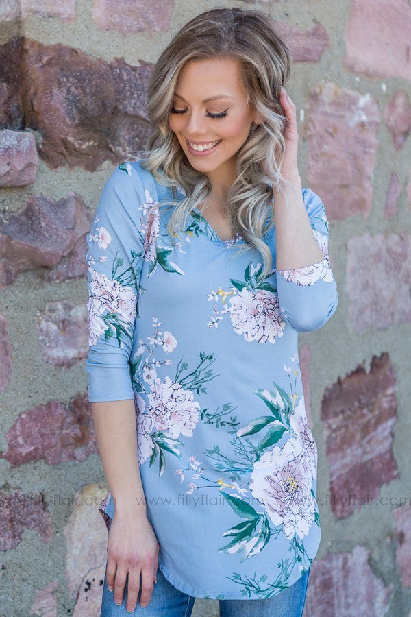 Don't Wake Me Floral 3/4 Sleeve Top In Slate Blue