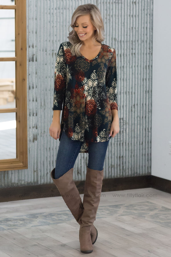 On The Way 3/4 Sleeve Floral Paisley V-Neck Top in Teal - Filly Flair