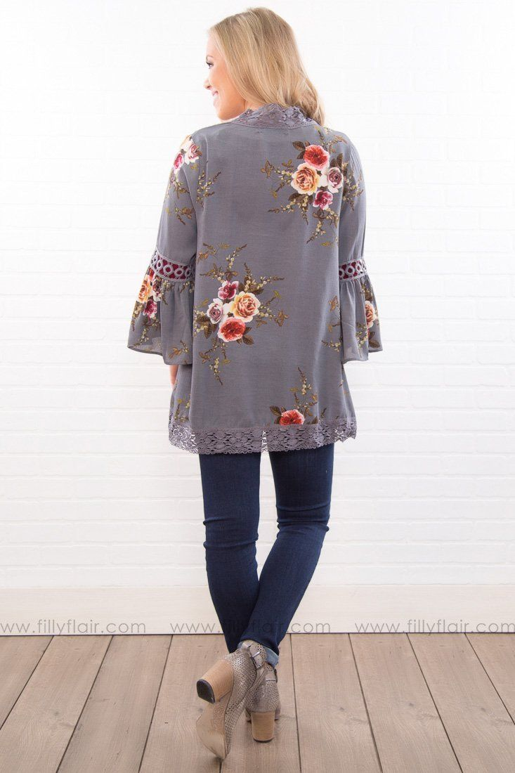 The Best Day Floral Bell Sleeve Kimono In Charcoal Blue
