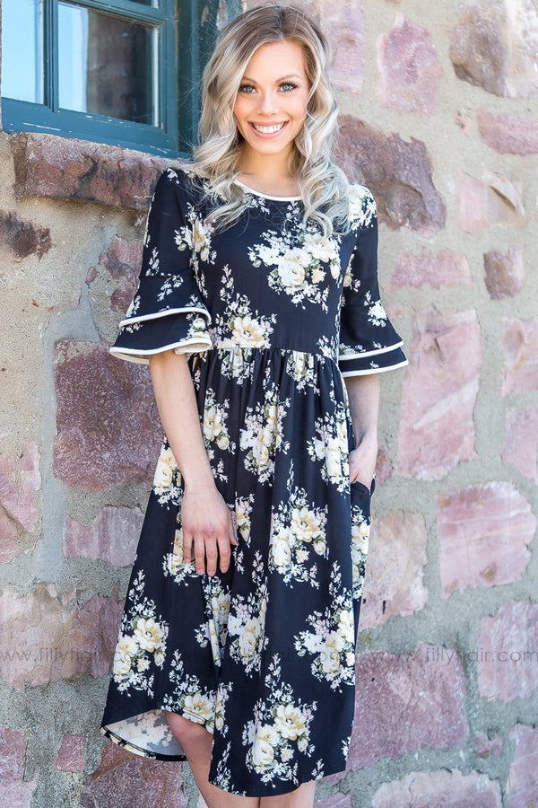Got To Know Your Name Floral Bell Sleeve Dress In Black