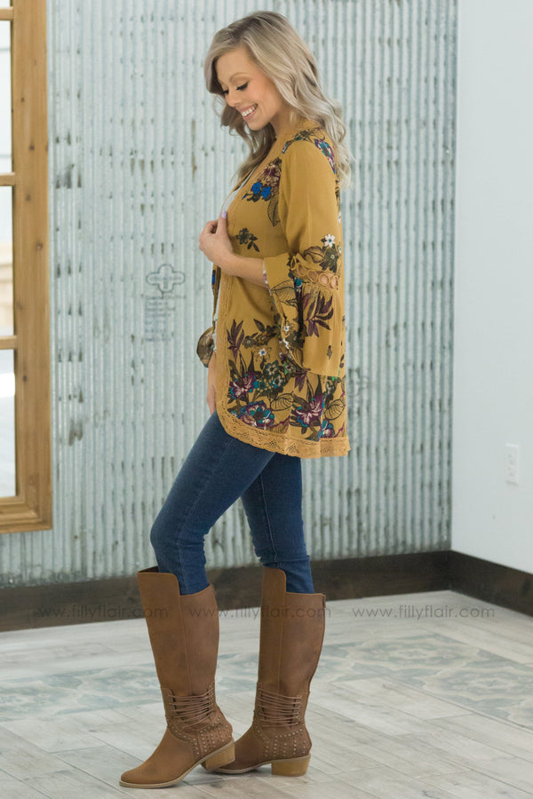Take It Slower Floral Lace Bell Sleeve Kimono In Mustard - Filly Flair