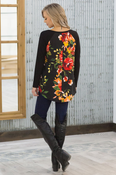 Fun In Floral Long Sleeve V-Neck Top In Black - Filly Flair