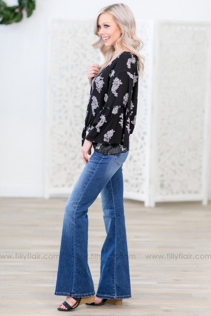 Give You Everything Bell Sleeve White Floral Tied Knot Top in Black - Filly Flair
