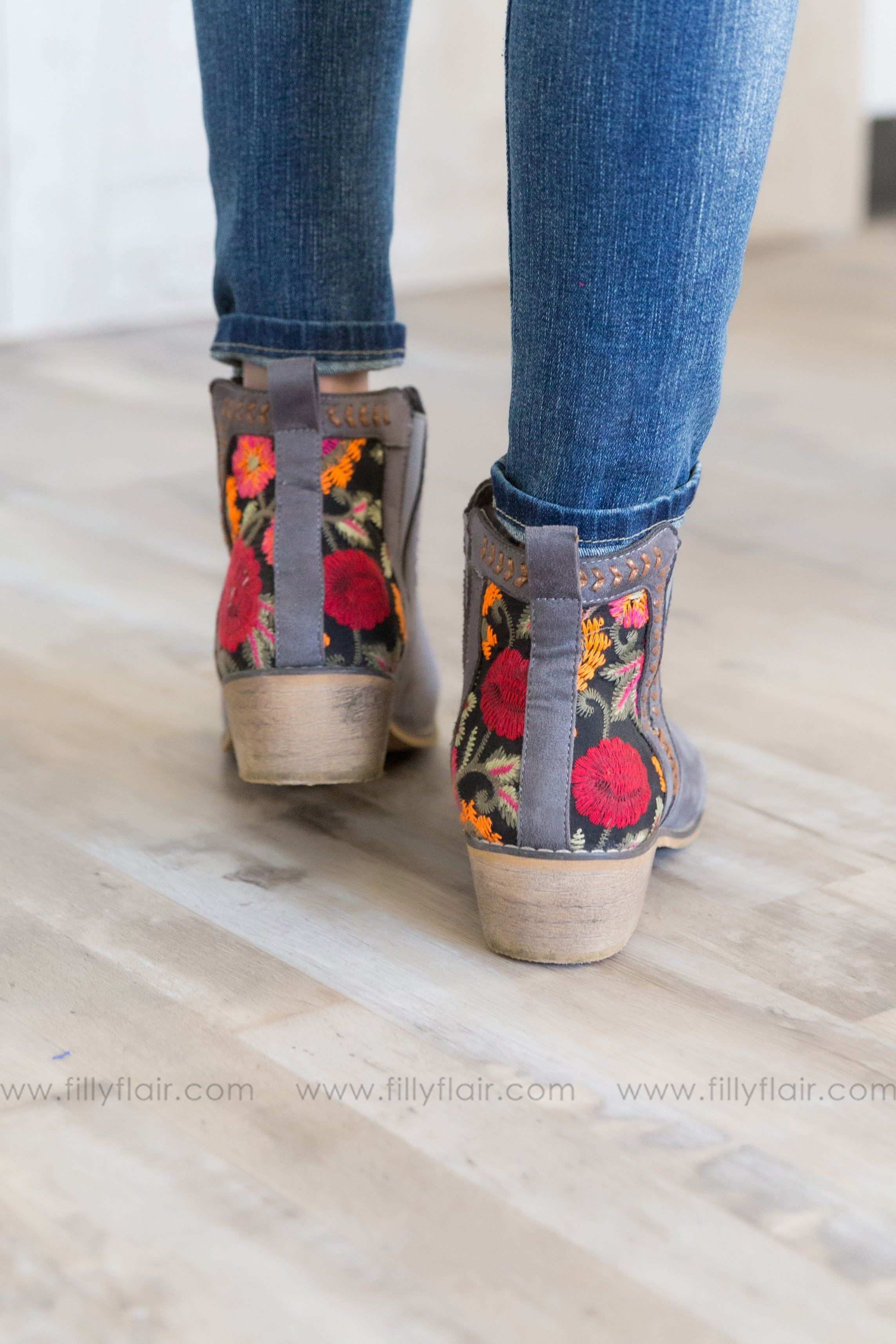 Tomorrow's Favorite Floral Booties in Grey - Filly Flair