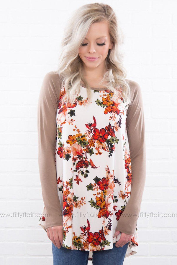 Piece Of My Heart Floral Long Sleeve Top In Tan
