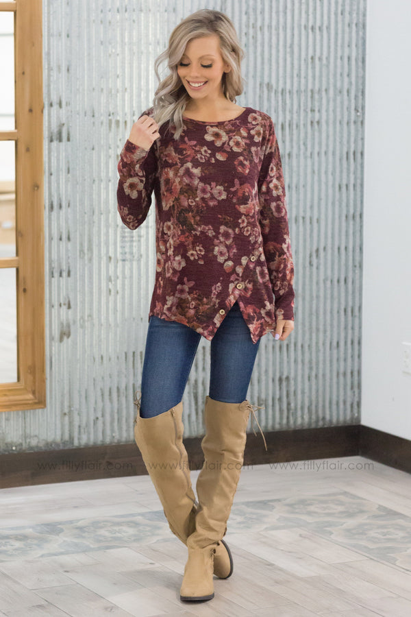 Going Strong Floral Button Detail Top in Burgundy - Filly Flair