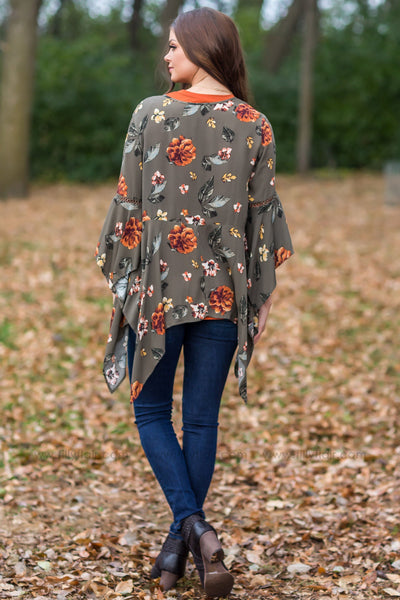 Perfect Timing Floral Cardigan in Olive - Filly Flair