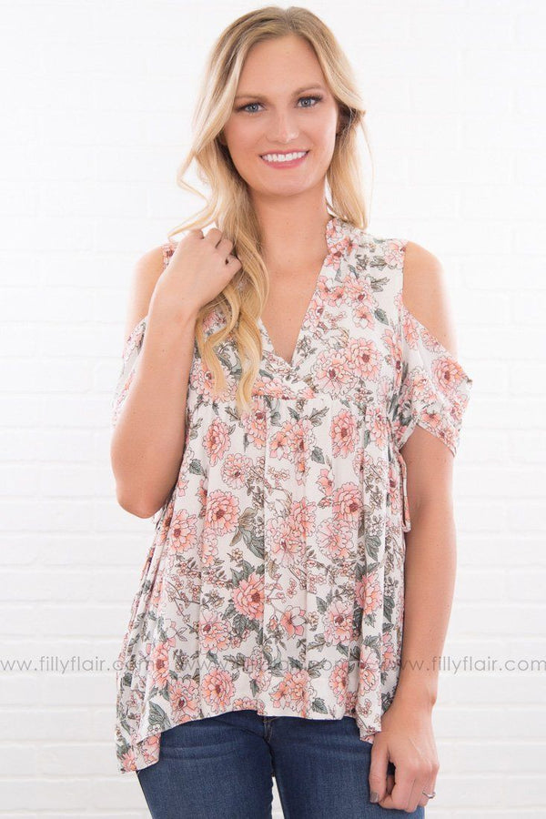 Floral Revival Cold Shoulder Top In Pink Sage