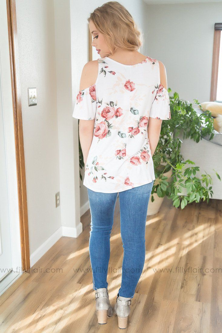 Just A Dream Floral Cold Shoulder Top In White
