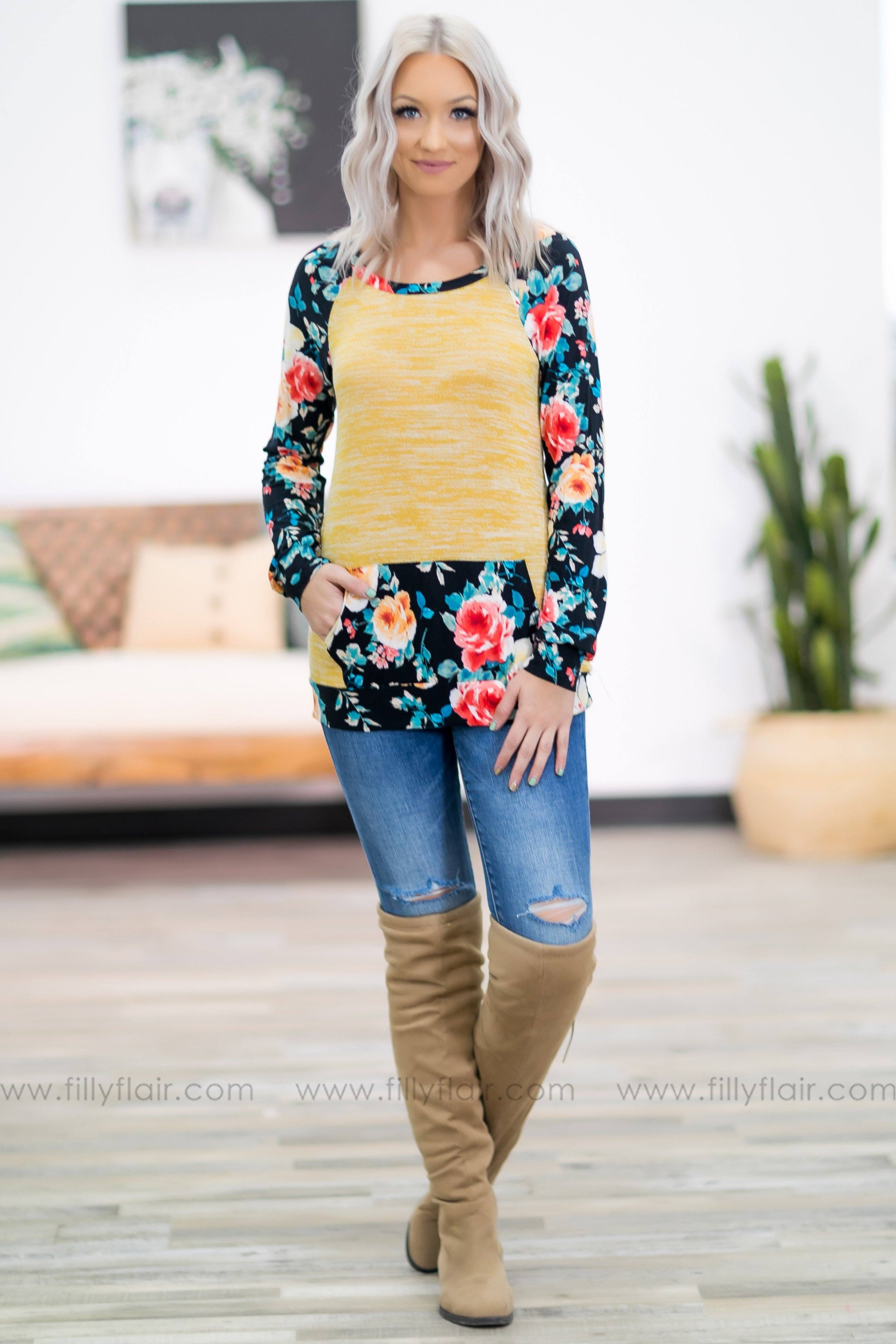 Seasons in the Sun Long Sleeve Floral Top in Mustard - Filly Flair