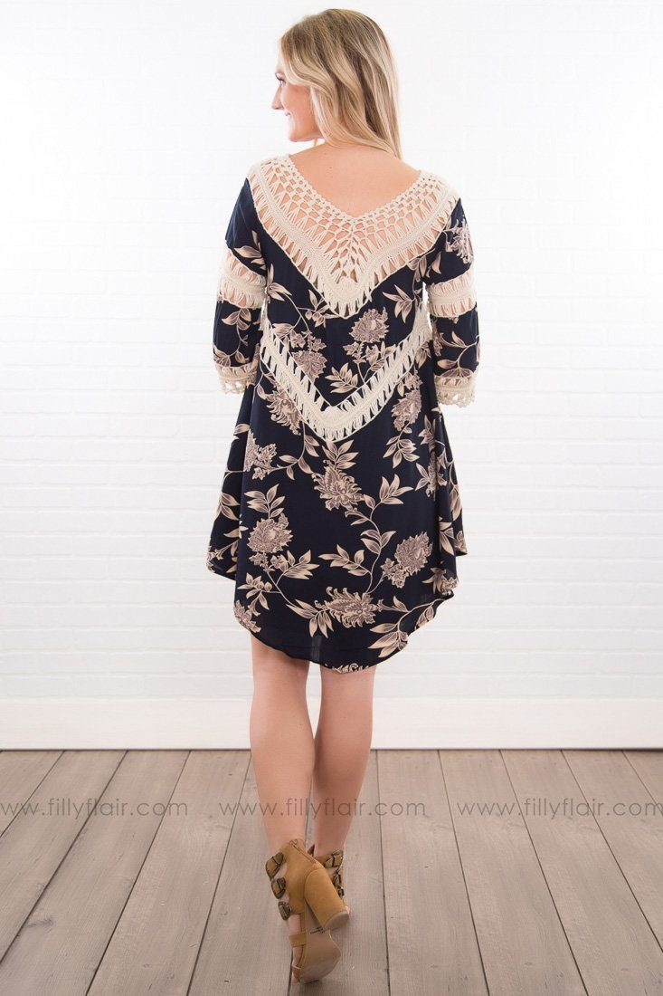 Out Last Night Printed Crochet Dress In Navy