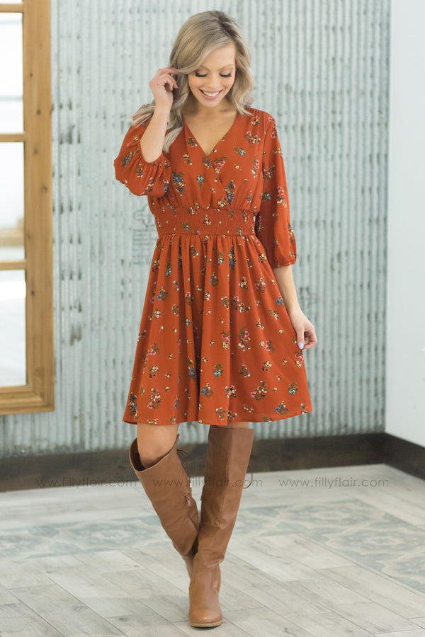 Won't Miss A Thing Short Floral Dress in Rust - Filly Flair