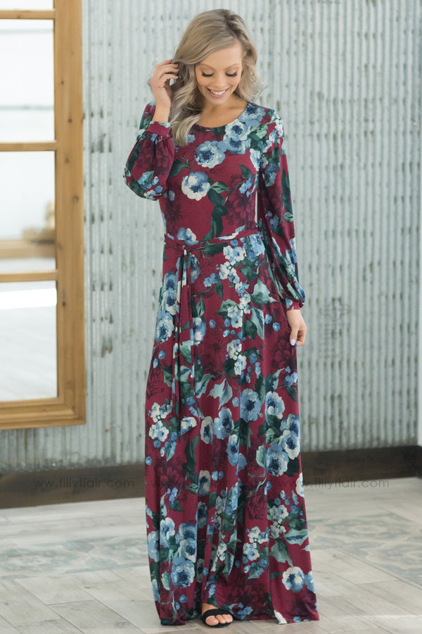 Just A Little Long Sleeve Floral Tie Maxi Dress In Burgundy - Filly Flair