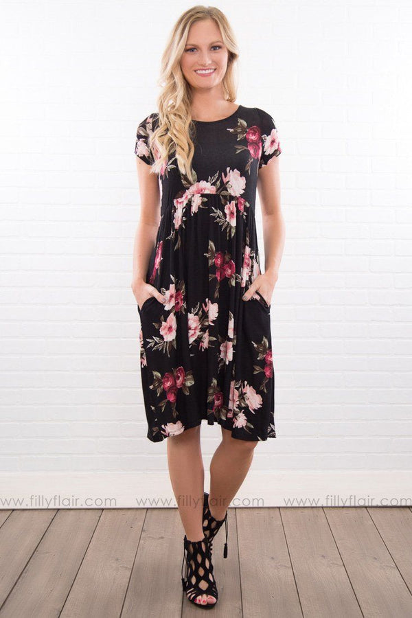 Love Harbor Floral Caged Back Dress In Black