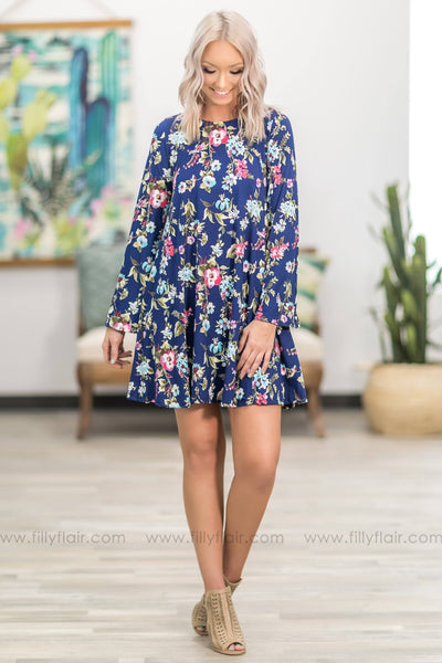 She's On Her Way Long Sleeve Floral Dress in Navy - Filly Flair