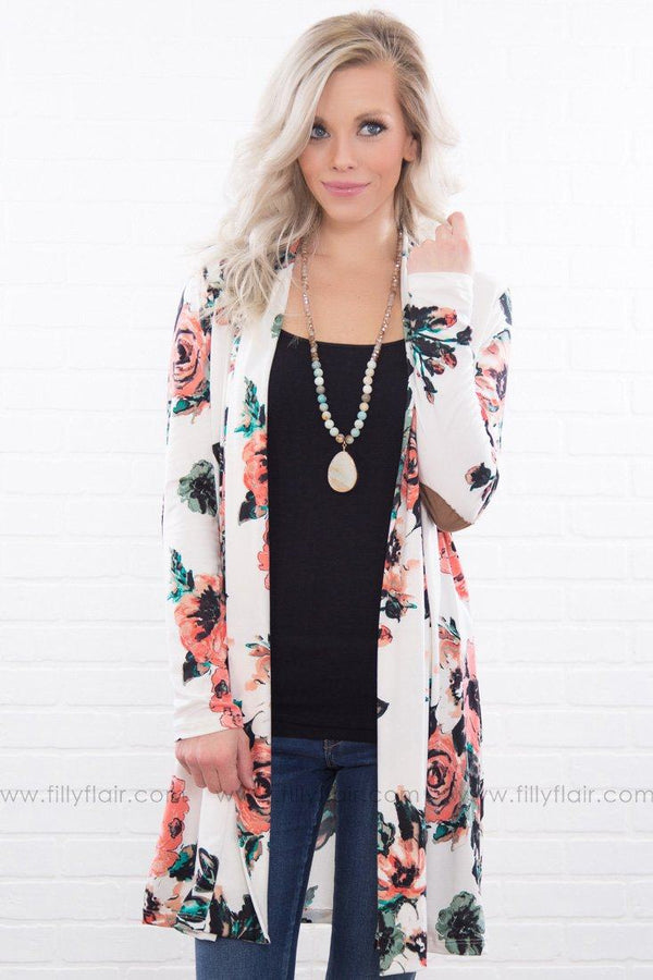 Stay With Me Floral Elbow Patch Cardigan In White