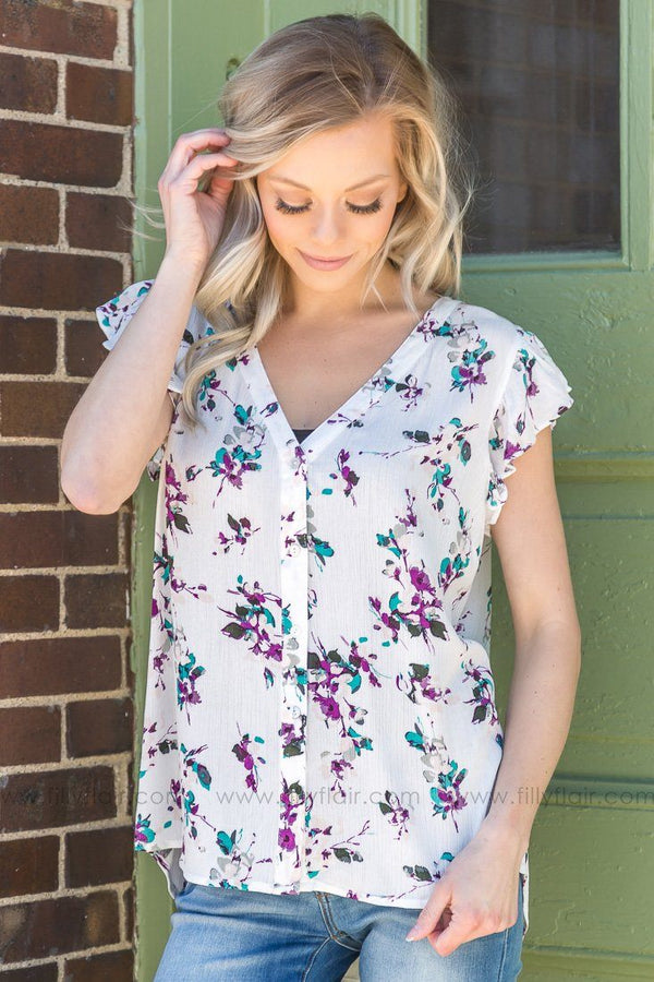 Don't You Worry Floral Button Down Top In White