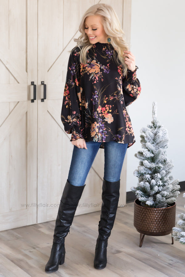 Free Falling Floral Mock Neck Long Sleeve Top in Black - Filly Flair