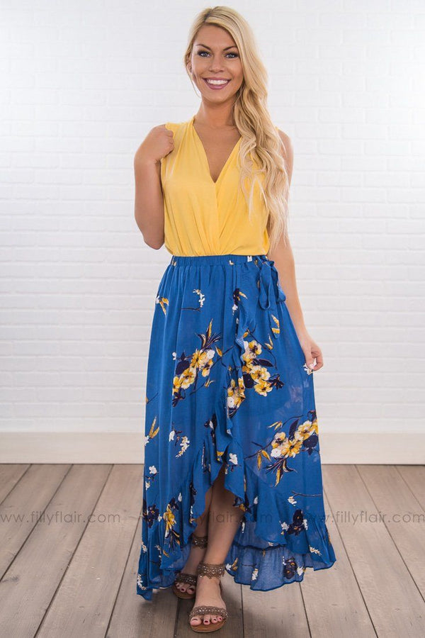 Looking Back At You Floral Hi Low Wrap Skirt In Blue