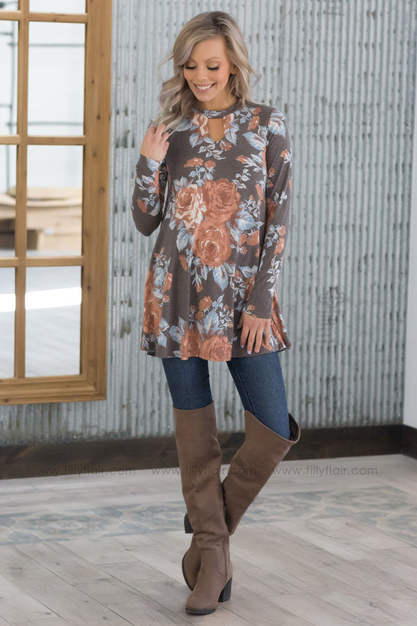 Floral Feels Long Sleeve Key Hole Tunic In Mocha - Filly Flair