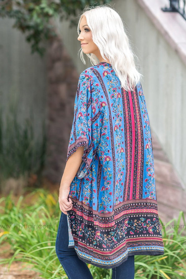 Thankful Heart Floral Kimono In Blue - Filly Flair