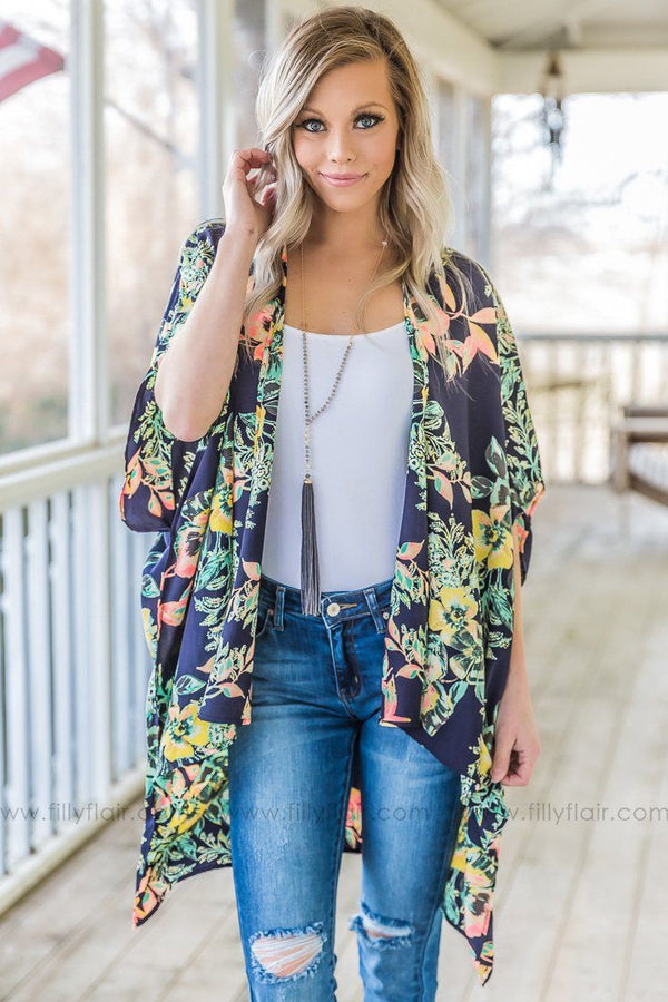 Somewhere I've Never Been Floral Dolman Kimono In Navy