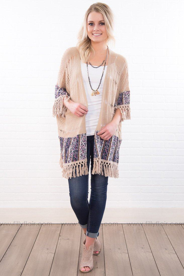 Down The Road Fringe Hem Cardigan In Beige - Filly Flair
