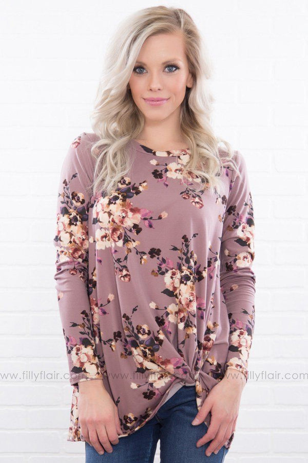 Seeking Love Floral Knotted Long Sleeve Top In Mauve
