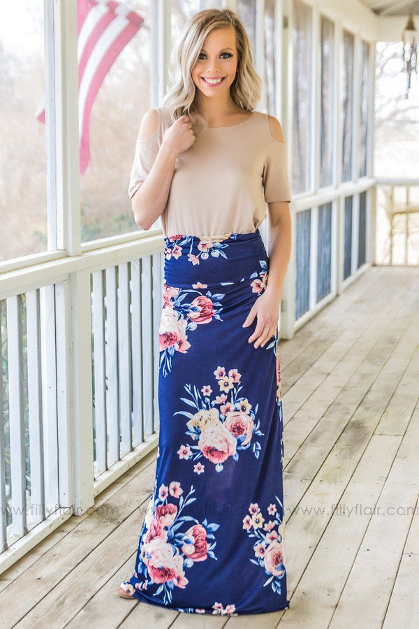 Sky High Floral Maxi Skirt In Navy