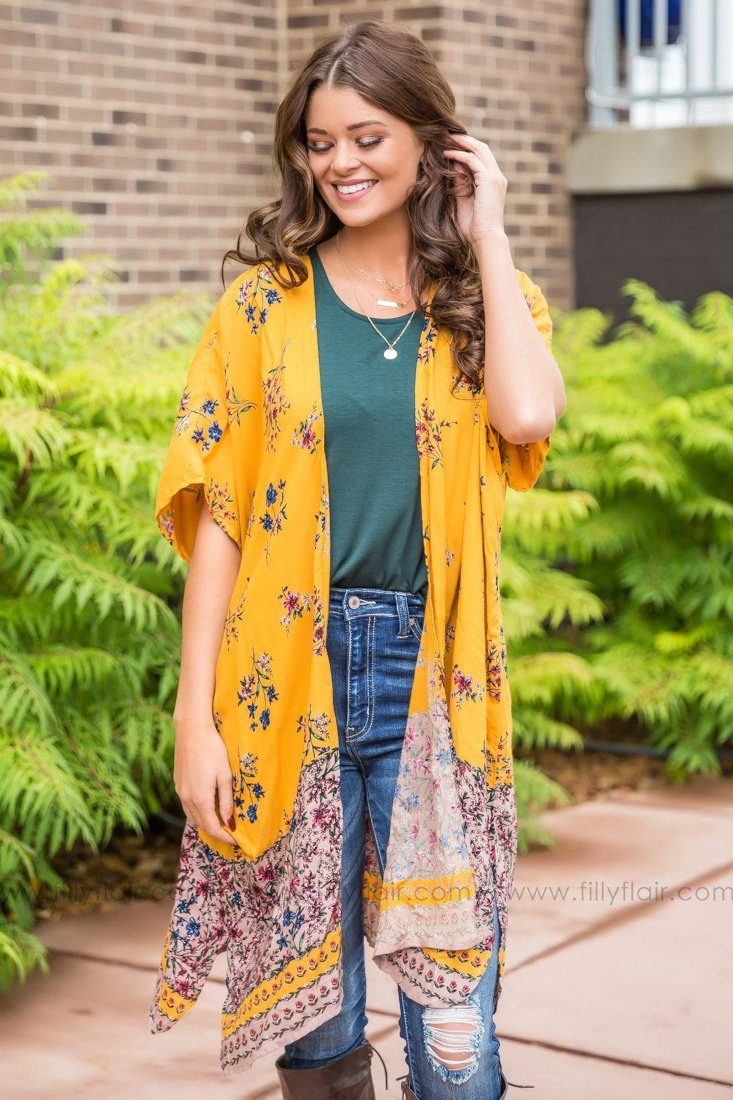 Among The Wildflowers Floral Kimono in Gold - Filly Flair
