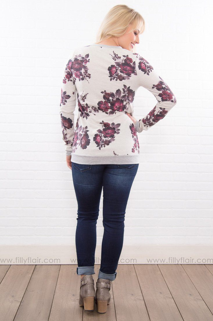 Music To My Ears Floral Print Top In Burgundy