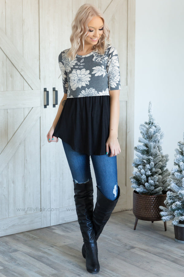 Love You With Everything Short Sleeve Floral Maternity Top in Black - Filly Flair