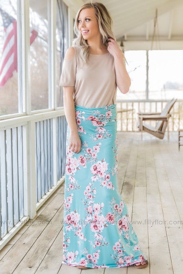 Sky High Floral Maxi Skirt In Mint