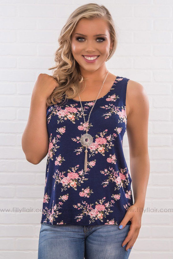 In Bloom Floral Tank Top In Navy With Necklace