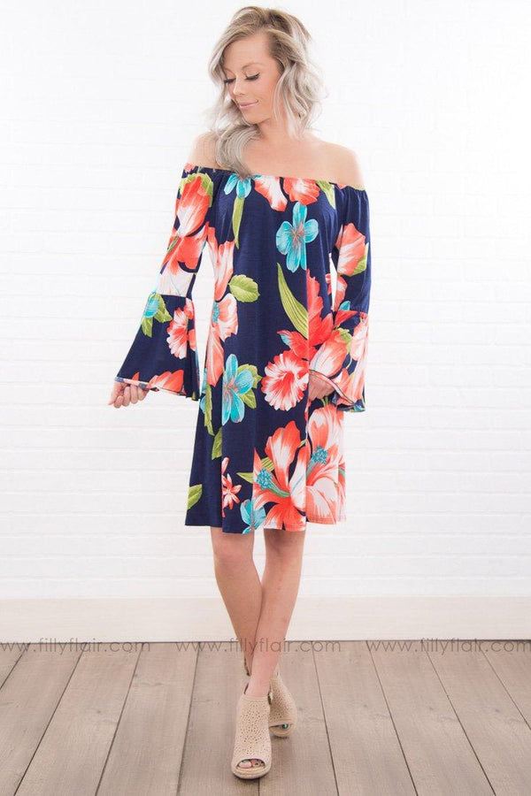 Need Somebody To Love Floral Off The Shoulder Dress In Navy