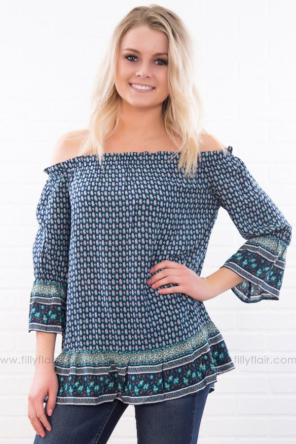 Lust For Life Off The Shoulder Ruffle Top In Navy