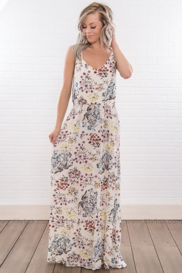 Already Home Floral Spaghetti Strap Maxi Dress In Ivory