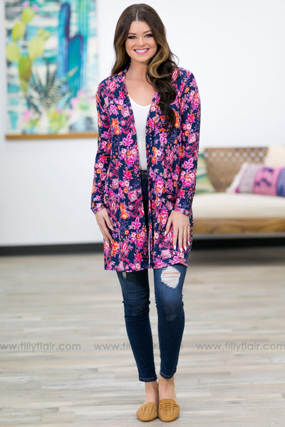 Help Me Believe Long Sleeve Floral Long Cardigan in Navy - Filly Flair