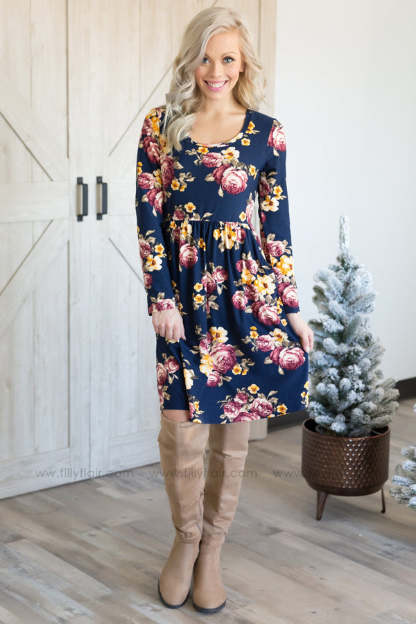 When We Were Younger Long Sleeve Floral Pocket Dress in Navy - Filly Flair