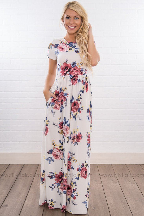 With Confidence Floral Short Sleeve Maxi Dress In White