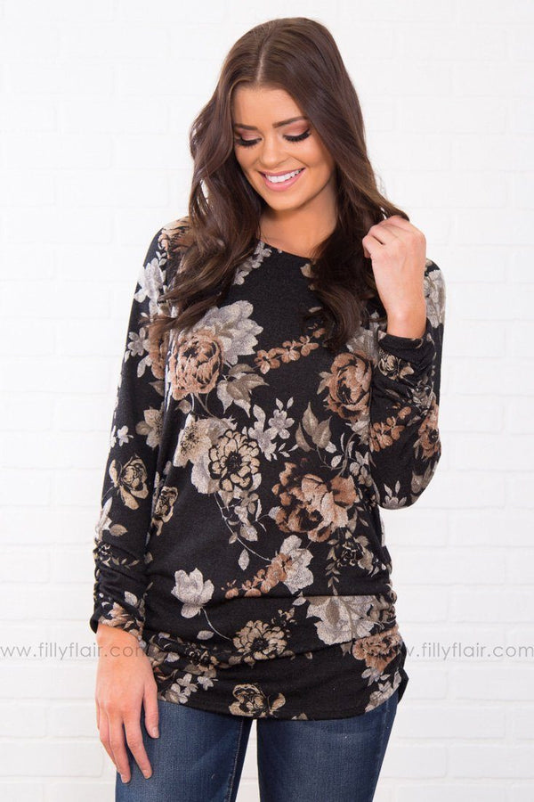Humble And Kind Floral Printed Tunic In Black