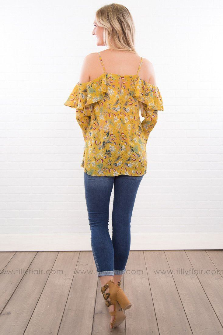 Wild Child Floral Cold Shoulder Ruffle Top In Mustard